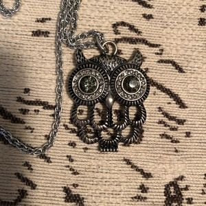 Gunmetal Owl Necklace with Long Chain